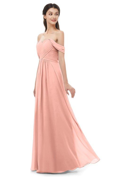 ColsBM Sylvia Peach Bridesmaid Dresses Mature Floor Length Sweetheart Ruching A-line Zip up
