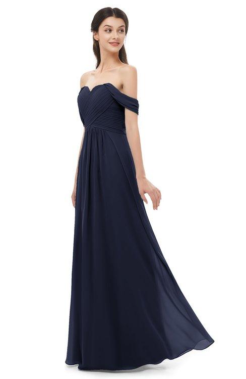 ColsBM Sylvia Peacoat Bridesmaid Dresses Mature Floor Length Sweetheart Ruching A-line Zip up