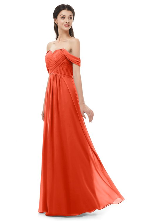 ColsBM Sylvia Persimmon Bridesmaid Dresses Mature Floor Length Sweetheart Ruching A-line Zip up