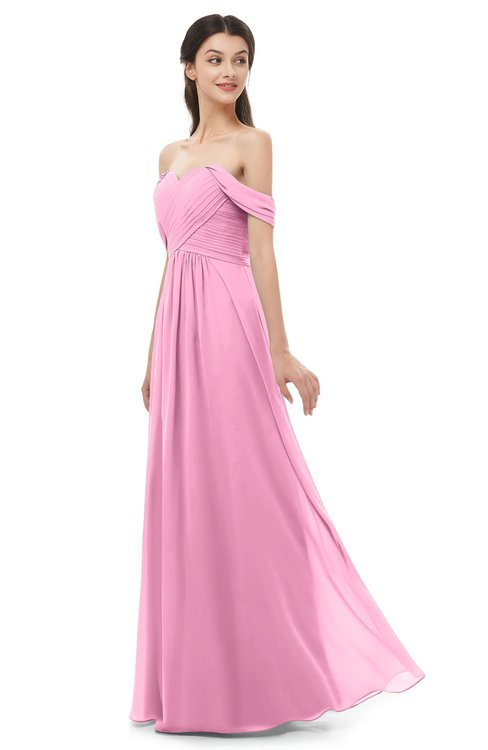 ColsBM Sylvia Pink Bridesmaid Dresses Mature Floor Length Sweetheart Ruching A-line Zip up