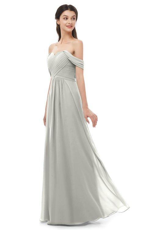 ColsBM Sylvia Platinum Bridesmaid Dresses Mature Floor Length Sweetheart Ruching A-line Zip up