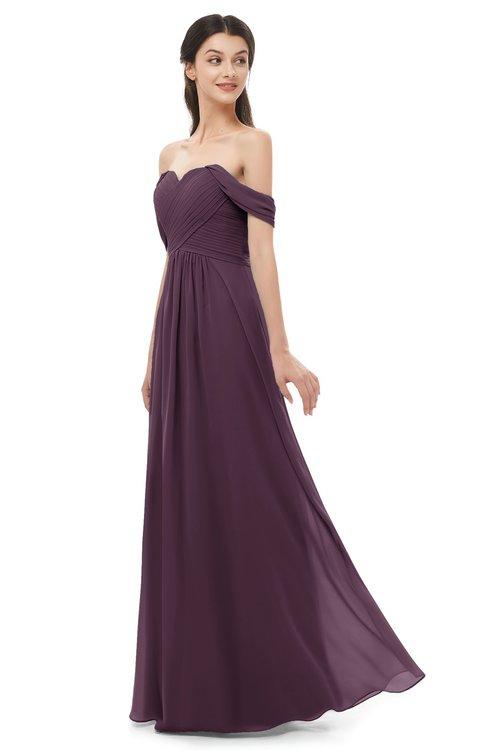 ColsBM Sylvia Plum Bridesmaid Dresses Mature Floor Length Sweetheart Ruching A-line Zip up