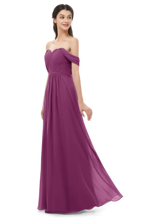 ColsBM Sylvia Raspberry Bridesmaid Dresses Mature Floor Length Sweetheart Ruching A-line Zip up