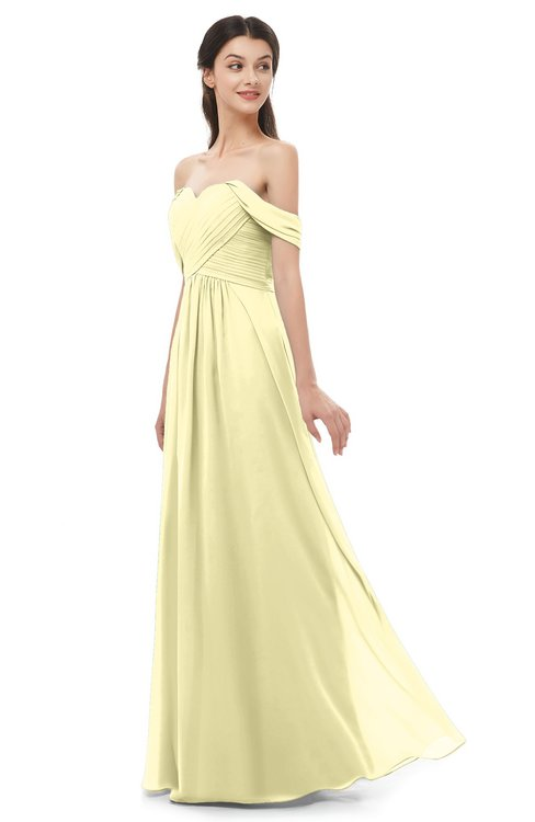 ColsBM Sylvia Soft Yellow Bridesmaid Dresses Mature Floor Length Sweetheart Ruching A-line Zip up