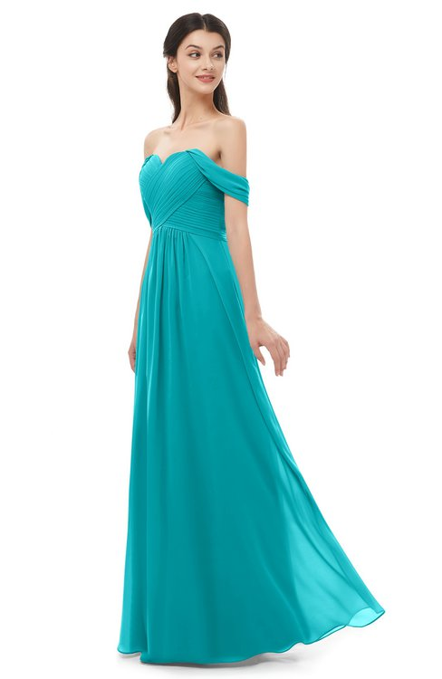 ColsBM Sylvia Teal Bridesmaid Dresses Mature Floor Length Sweetheart Ruching A-line Zip up
