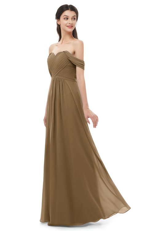ColsBM Sylvia Truffle Bridesmaid Dresses Mature Floor Length Sweetheart Ruching A-line Zip up