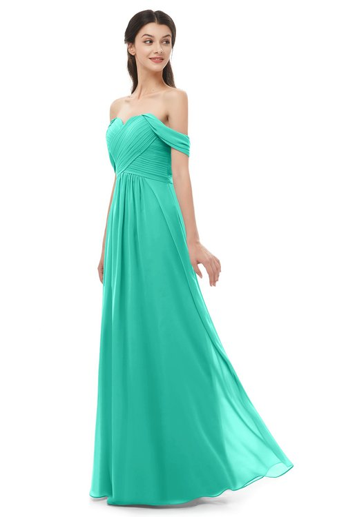 ColsBM Sylvia Viridian Green Bridesmaid Dresses Mature Floor Length Sweetheart Ruching A-line Zip up