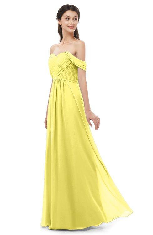 ColsBM Sylvia Yellow Iris Bridesmaid Dresses Mature Floor Length Sweetheart Ruching A-line Zip up