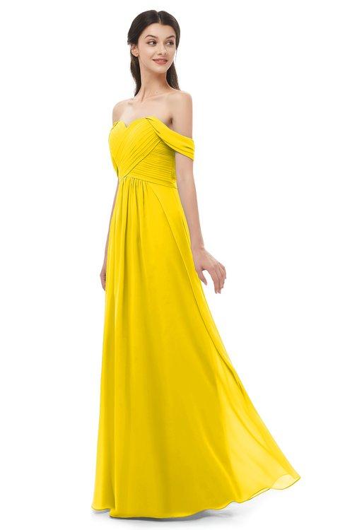 ColsBM Sylvia Yellow Bridesmaid Dresses Mature Floor Length Sweetheart Ruching A-line Zip up