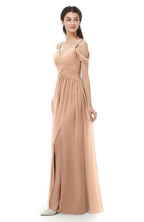 ColsBM Raven Almost Apricot Bridesmaid Dresses Split-Front Modern Short Sleeve Floor Length Thick Straps A-line