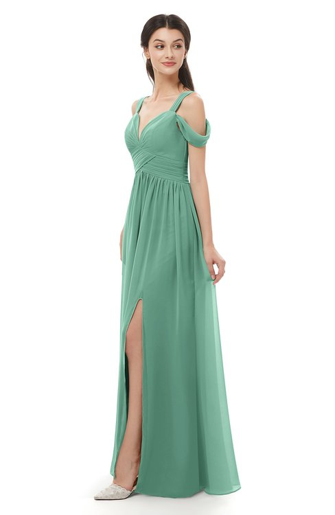 ColsBM Raven Beryl Green Bridesmaid Dresses Split-Front Modern Short Sleeve Floor Length Thick Straps A-line