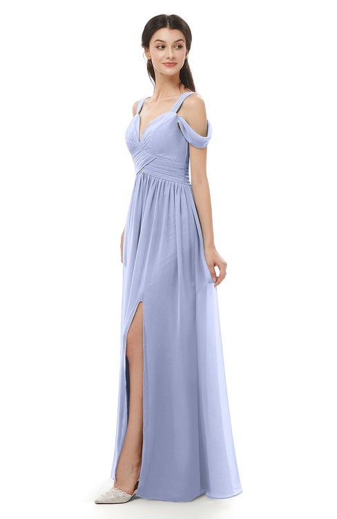 ColsBM Raven Blue Heron Bridesmaid Dresses Split-Front Modern Short Sleeve Floor Length Thick Straps A-line