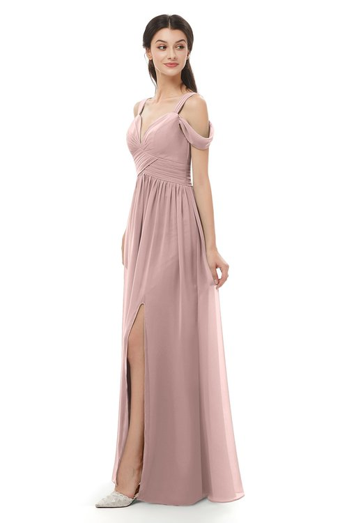 ColsBM Raven Blush Pink Bridesmaid Dresses Split-Front Modern Short Sleeve Floor Length Thick Straps A-line