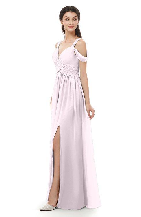 ColsBM Raven Blush Bridesmaid Dresses Split-Front Modern Short Sleeve Floor Length Thick Straps A-line