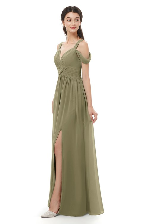 ColsBM Raven Boa Bridesmaid Dresses Split-Front Modern Short Sleeve Floor Length Thick Straps A-line