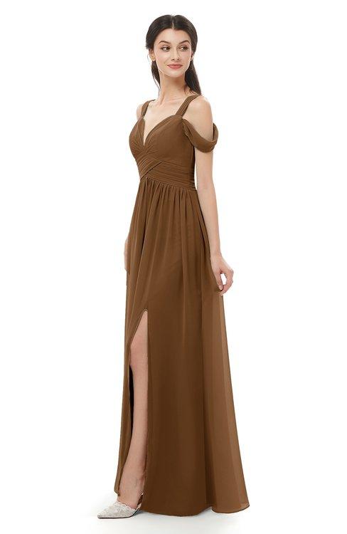 ColsBM Raven Brown Bridesmaid Dresses Split-Front Modern Short Sleeve Floor Length Thick Straps A-line