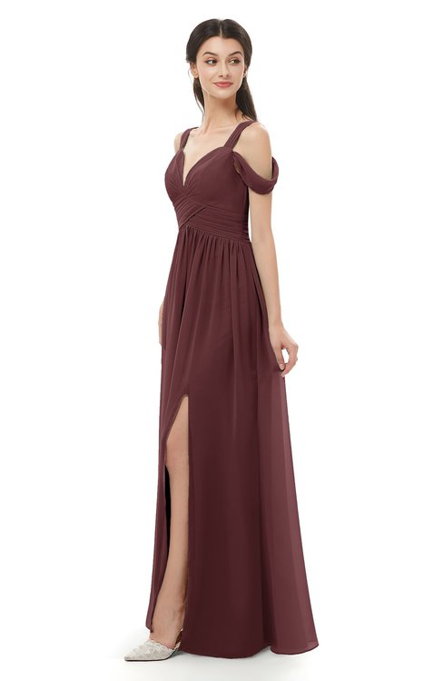 ColsBM Raven Burgundy Bridesmaid Dresses Split-Front Modern Short Sleeve Floor Length Thick Straps A-line