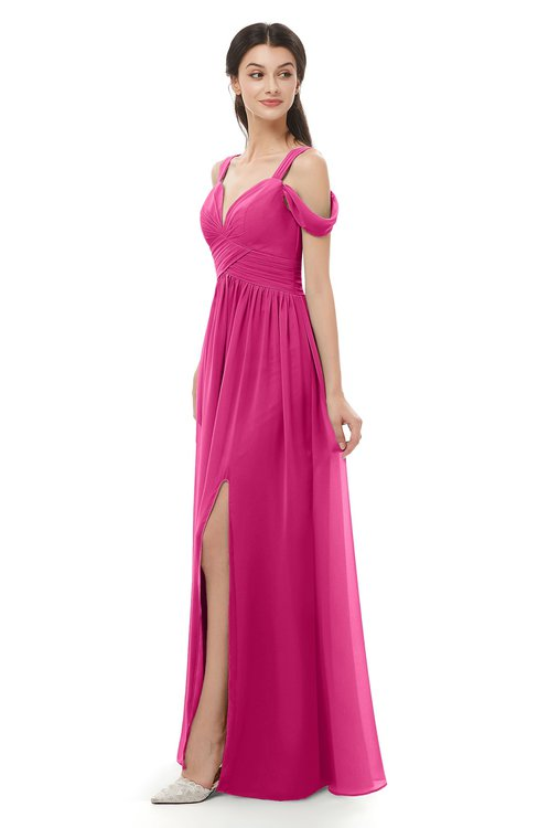 ColsBM Raven Cabaret Bridesmaid Dresses Split-Front Modern Short Sleeve Floor Length Thick Straps A-line