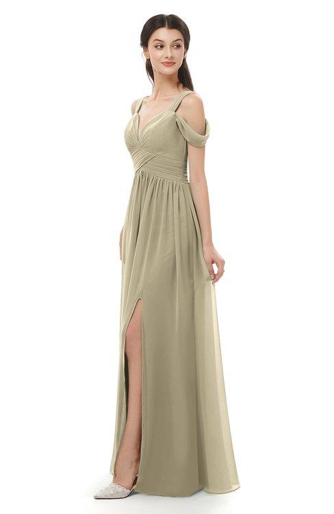 ColsBM Raven Candied Ginger Bridesmaid Dresses Split-Front Modern Short Sleeve Floor Length Thick Straps A-line