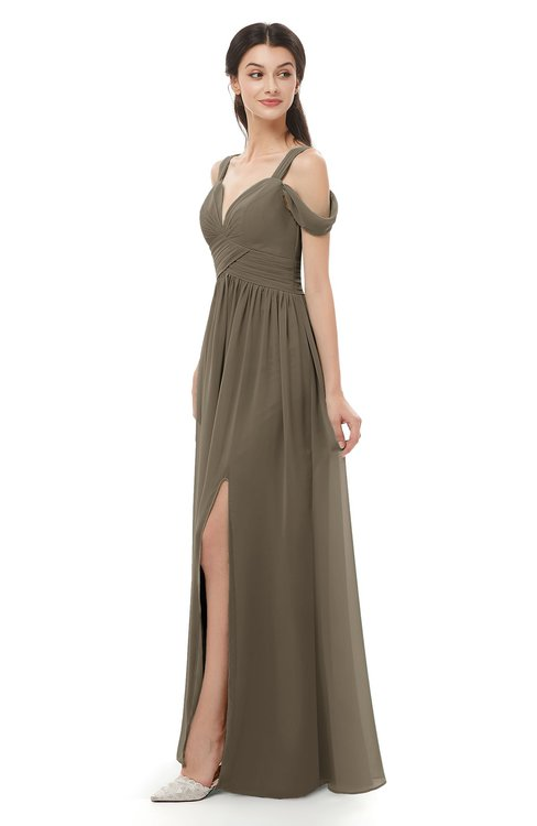 ColsBM Raven Carafe Brown Bridesmaid Dresses Split-Front Modern Short Sleeve Floor Length Thick Straps A-line