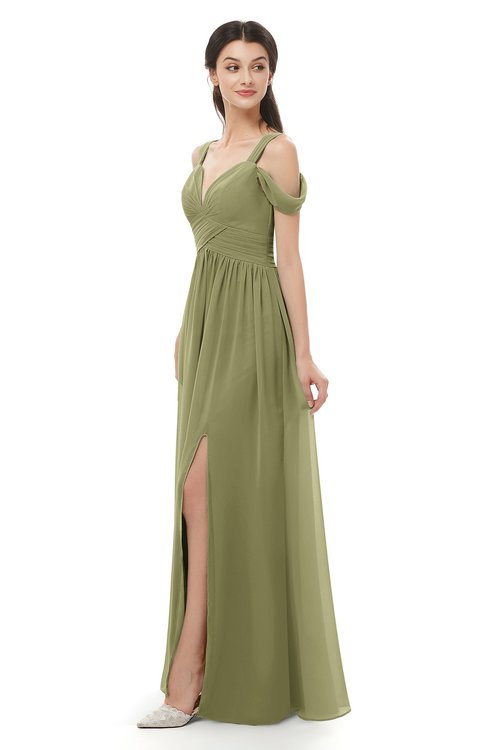 ColsBM Raven Cedar Bridesmaid Dresses Split-Front Modern Short Sleeve Floor Length Thick Straps A-line