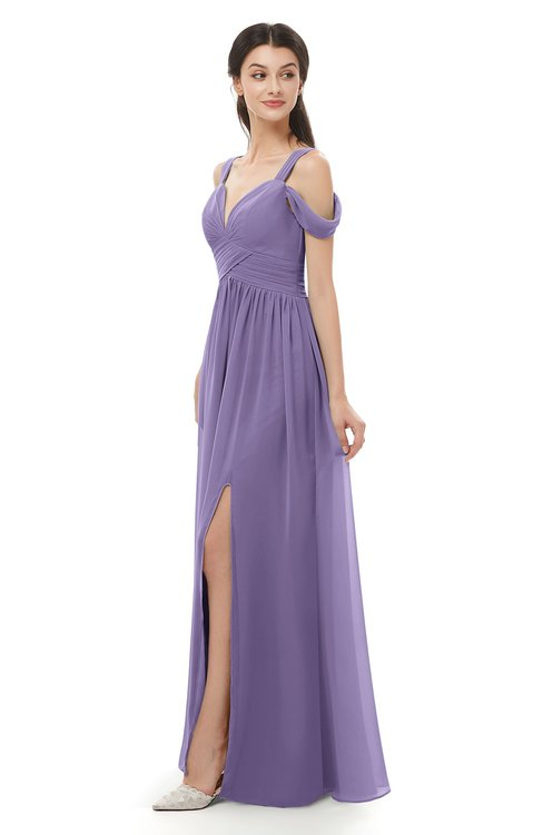 ColsBM Raven Chalk Violet Bridesmaid Dresses Split-Front Modern Short Sleeve Floor Length Thick Straps A-line