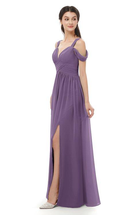 ColsBM Raven Chinese Violet Bridesmaid Dresses Split-Front Modern Short Sleeve Floor Length Thick Straps A-line