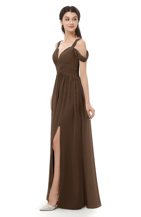 ColsBM Raven Chocolate Brown Bridesmaid Dresses Split-Front Modern Short Sleeve Floor Length Thick Straps A-line