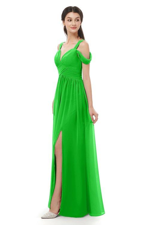 ColsBM Raven Classic Green Bridesmaid Dresses Split-Front Modern Short Sleeve Floor Length Thick Straps A-line