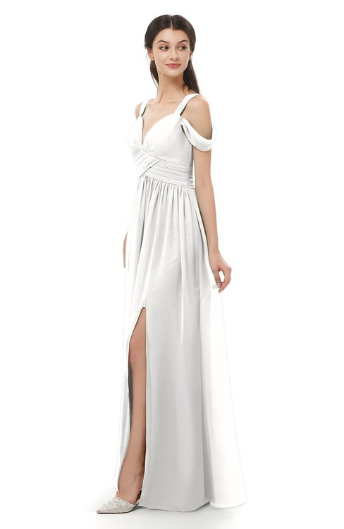 ColsBM Raven Cloud White Bridesmaid Dresses Split-Front Modern Short Sleeve Floor Length Thick Straps A-line