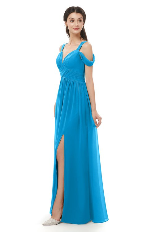 ColsBM Raven Cornflower Blue Bridesmaid Dresses Split-Front Modern Short Sleeve Floor Length Thick Straps A-line