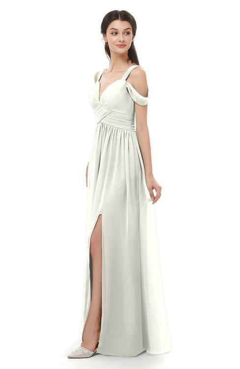 ColsBM Raven Cream Bridesmaid Dresses Split-Front Modern Short Sleeve Floor Length Thick Straps A-line