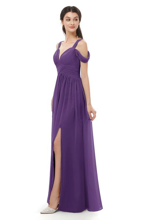 ColsBM Raven Dark Purple Bridesmaid Dresses Split-Front Modern Short Sleeve Floor Length Thick Straps A-line