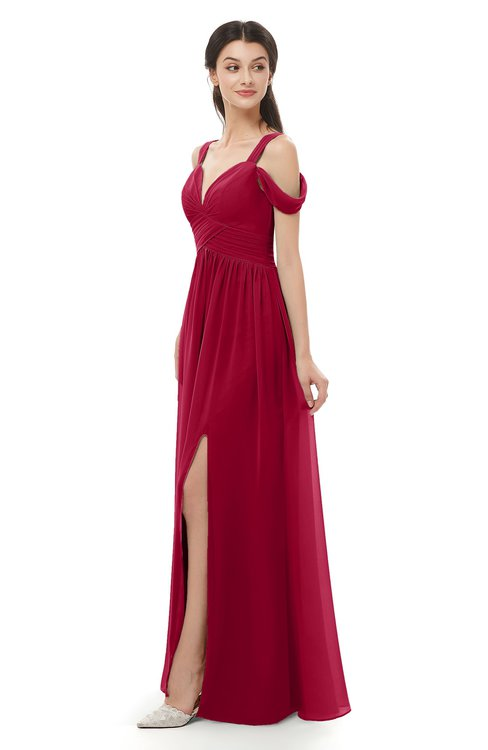 ColsBM Raven Dark Red Bridesmaid Dresses Split-Front Modern Short Sleeve Floor Length Thick Straps A-line