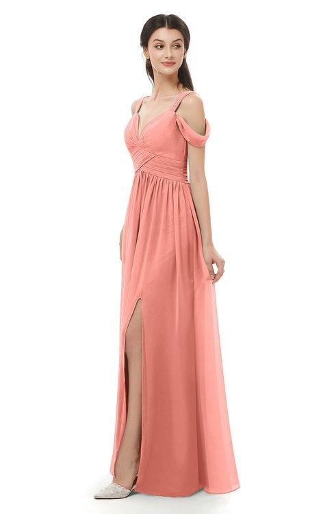 ColsBM Raven Desert Flower Bridesmaid Dresses Split-Front Modern Short Sleeve Floor Length Thick Straps A-line