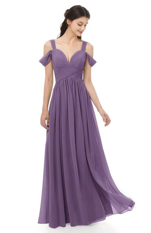 6fd1555278a ... ColsBM Raven Eggplant Bridesmaid Dresses Split-Front Modern Short  Sleeve Floor Length Thick Straps A ...