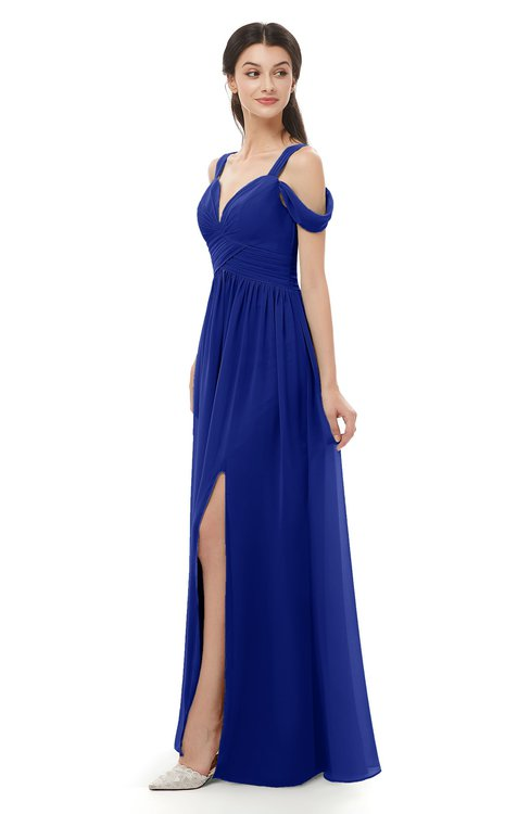 ColsBM Raven Electric Blue Bridesmaid Dresses Split-Front Modern Short Sleeve Floor Length Thick Straps A-line