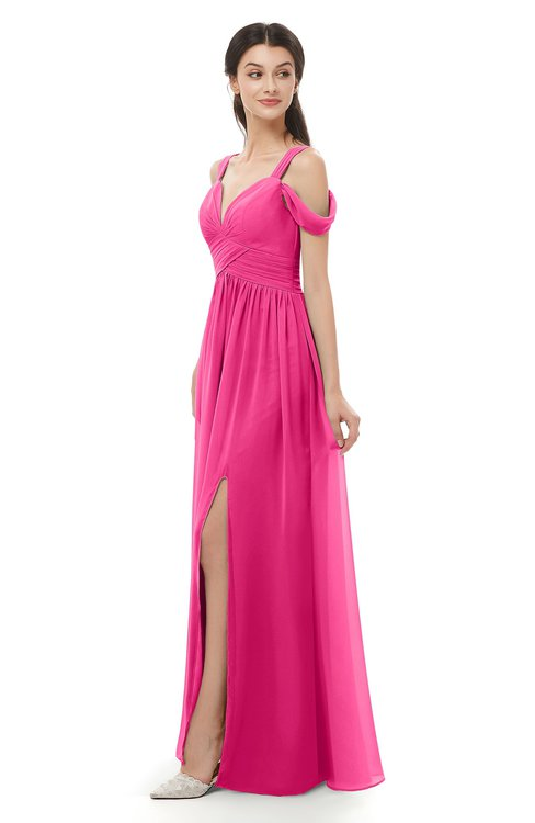 ColsBM Raven Fandango Pink Bridesmaid Dresses Split-Front Modern Short Sleeve Floor Length Thick Straps A-line