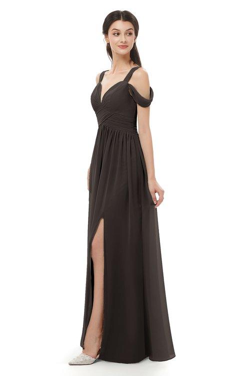 ColsBM Raven Fudge Brown Bridesmaid Dresses Split-Front Modern Short Sleeve Floor Length Thick Straps A-line