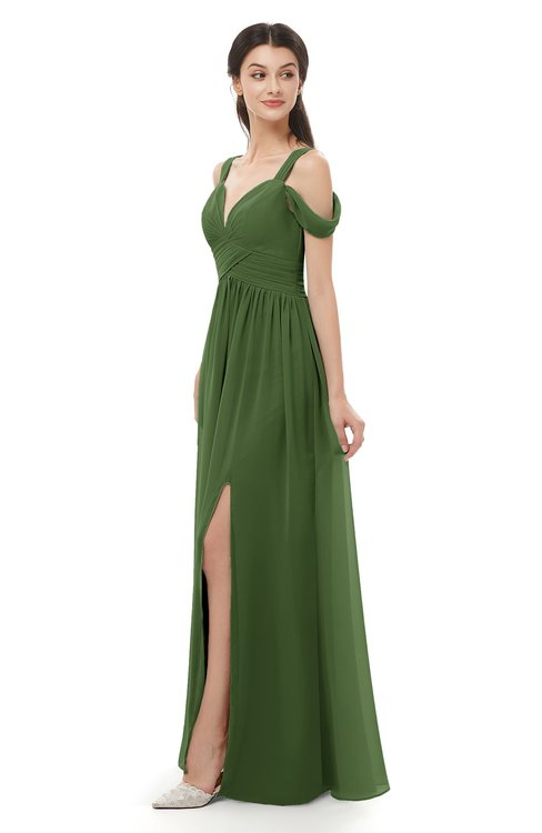 ColsBM Raven Garden Green Bridesmaid Dresses Split-Front Modern Short Sleeve Floor Length Thick Straps A-line