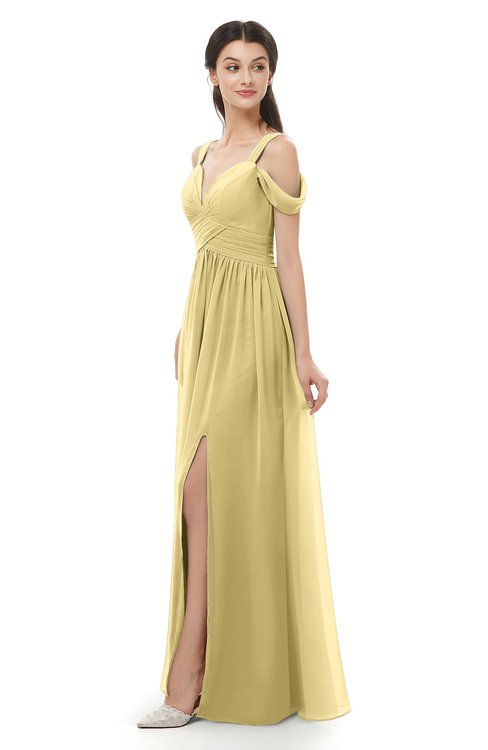 ColsBM Raven Gold Bridesmaid Dresses Split-Front Modern Short Sleeve Floor Length Thick Straps A-line