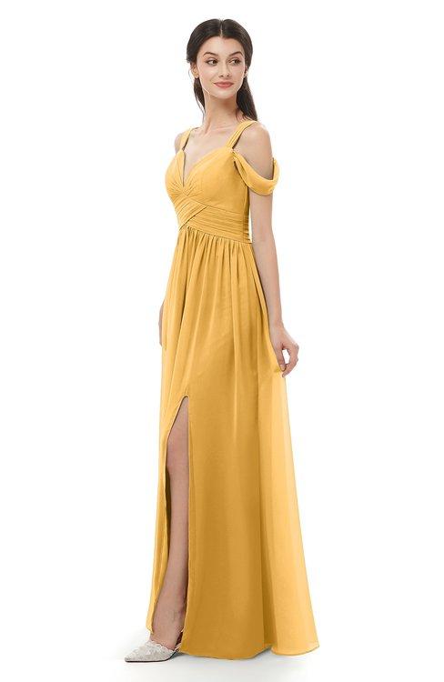 ColsBM Raven Golden Cream Bridesmaid Dresses Split-Front Modern Short Sleeve Floor Length Thick Straps A-line