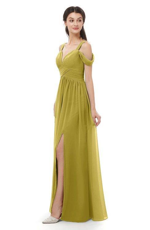 ColsBM Raven Golden Olive Bridesmaid Dresses Split-Front Modern Short Sleeve Floor Length Thick Straps A-line
