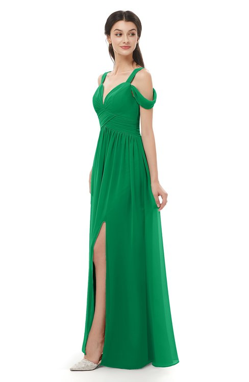 ColsBM Raven Green Bridesmaid Dresses Split-Front Modern Short Sleeve Floor Length Thick Straps A-line