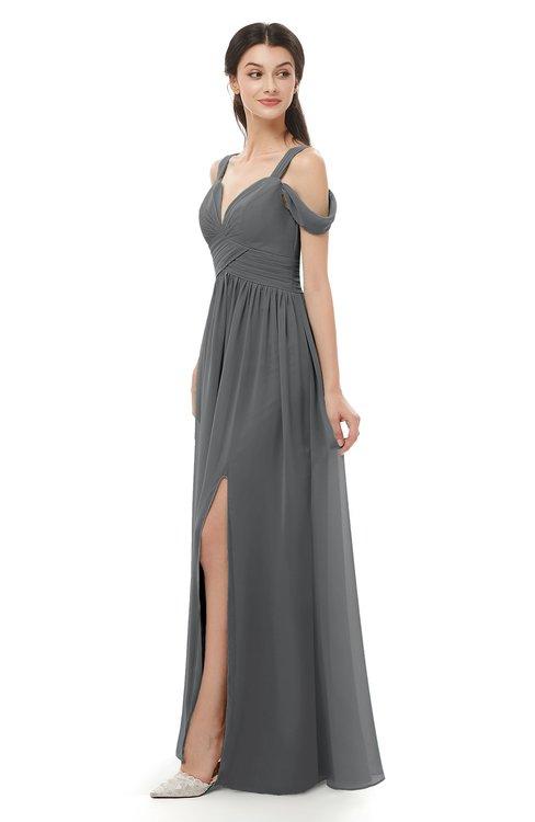 ColsBM Raven Grey Bridesmaid Dresses Split-Front Modern Short Sleeve Floor Length Thick Straps A-line