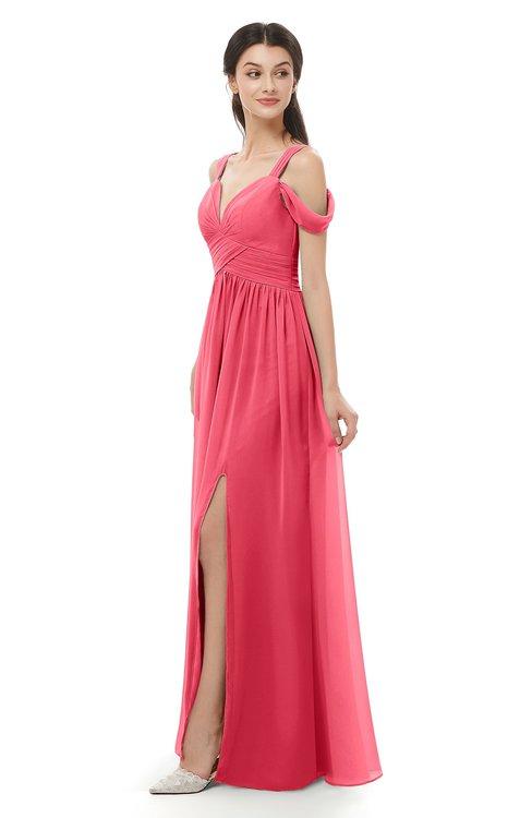 ColsBM Raven Guava Bridesmaid Dresses Split-Front Modern Short Sleeve Floor Length Thick Straps A-line