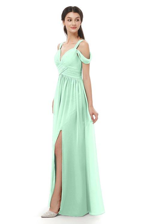 ColsBM Raven Honeydew Bridesmaid Dresses Split-Front Modern Short Sleeve Floor Length Thick Straps A-line