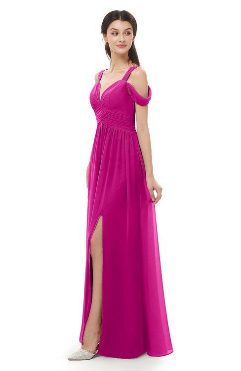 ColsBM Raven Hot Pink Bridesmaid Dresses Split-Front Modern Short Sleeve Floor Length Thick Straps A-line