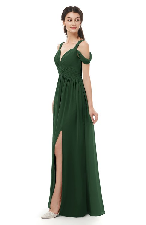 ColsBM Raven Hunter Green Bridesmaid Dresses Split-Front Modern Short Sleeve Floor Length Thick Straps A-line