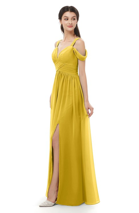 ColsBM Raven Lemon Curry Bridesmaid Dresses Split-Front Modern Short Sleeve Floor Length Thick Straps A-line